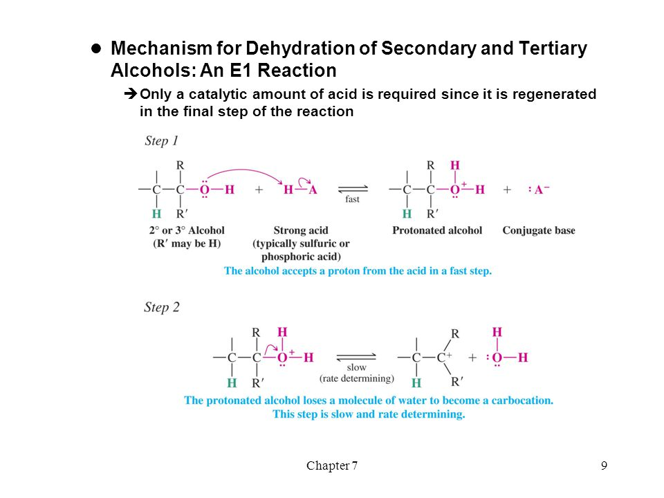 Mechanism for Dehydration of Secondary and Tertiary Alcohols: An E1 Reaction