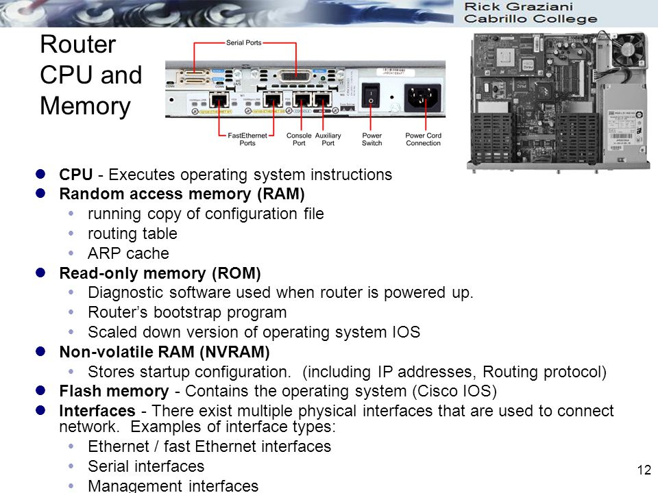 Router CPU and Memory CPU - Executes operating system instructions