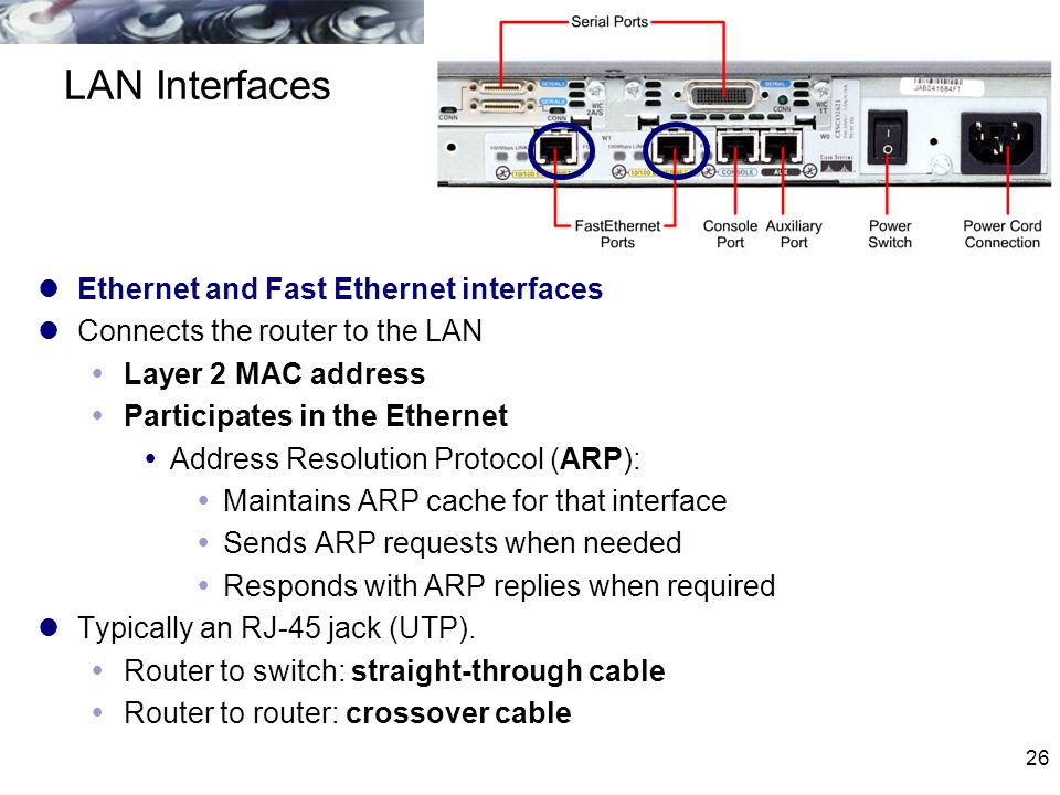 LAN Interfaces Ethernet and Fast Ethernet interfaces