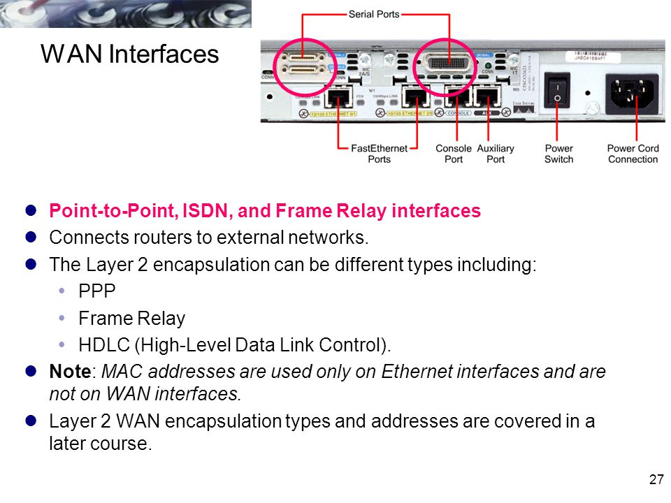 WAN Interfaces Point-to-Point, ISDN, and Frame Relay interfaces