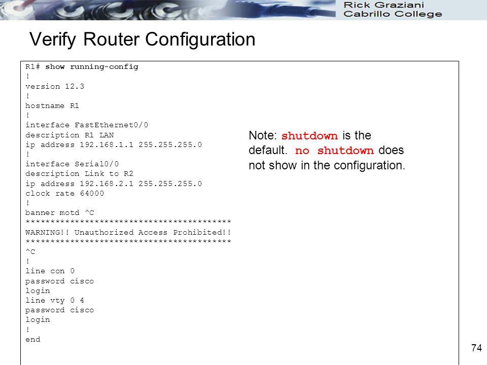 Verify Router Configuration