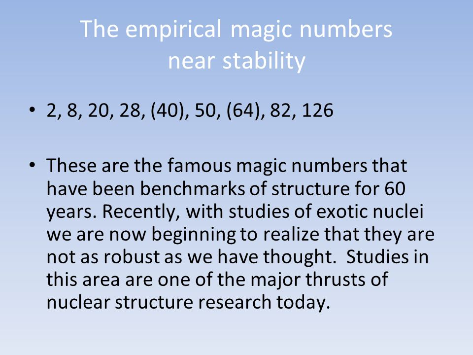 The empirical magic numbers near stability