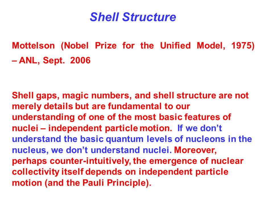 Shell Structure Mottelson (Nobel Prize for the Unified Model, 1975) – ANL, Sept. 2006.