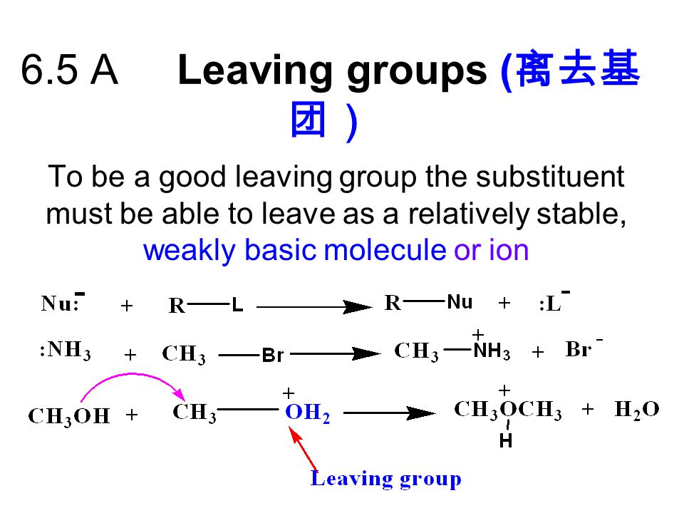 6.5 A Leaving groups (离去基团)