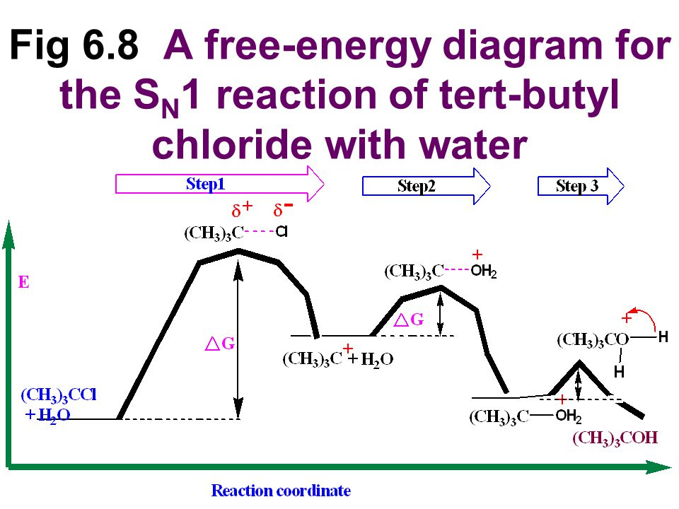 Fig 6.8 A free-energy diagram for the SN1 reaction of tert-butyl chloride with water