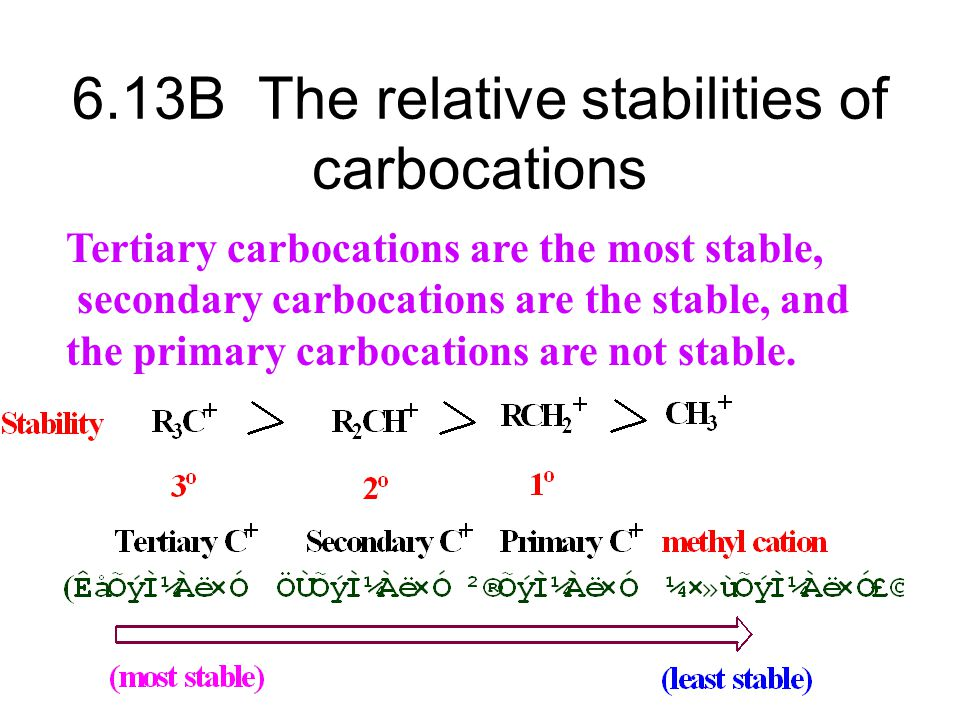 6.13B The relative stabilities of carbocations
