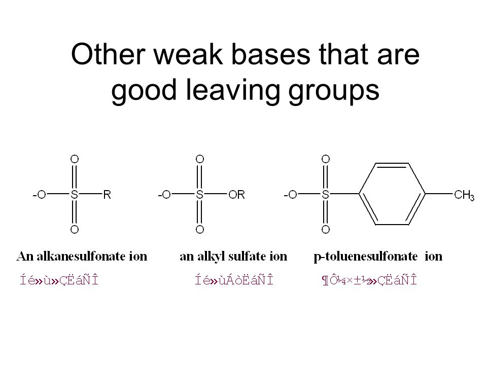 Other weak bases that are good leaving groups
