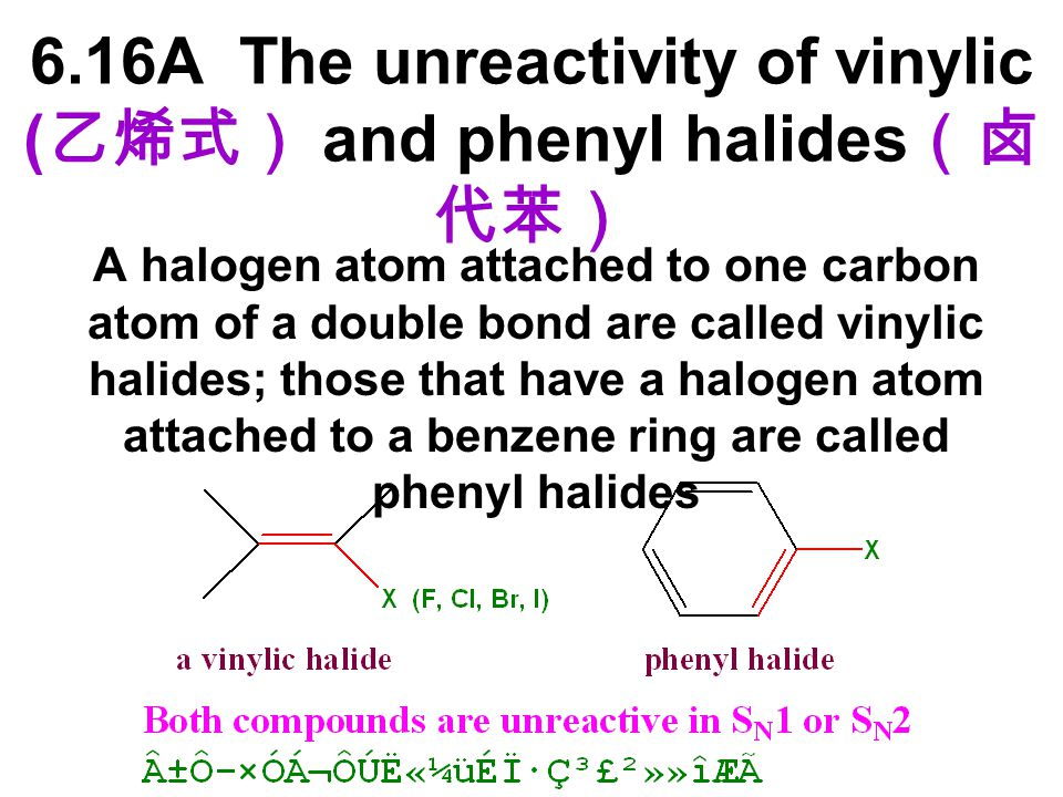 6.16A The unreactivity of vinylic (乙烯式) and phenyl halides(卤代苯)