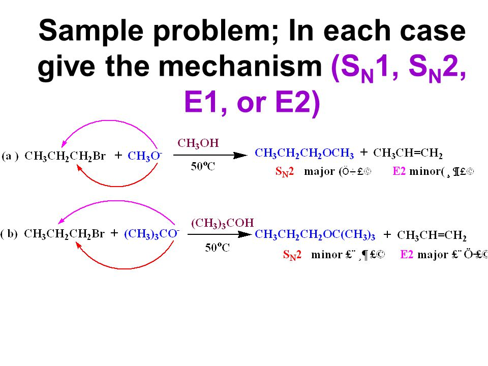 Sample problem; In each case give the mechanism (SN1, SN2, E1, or E2)