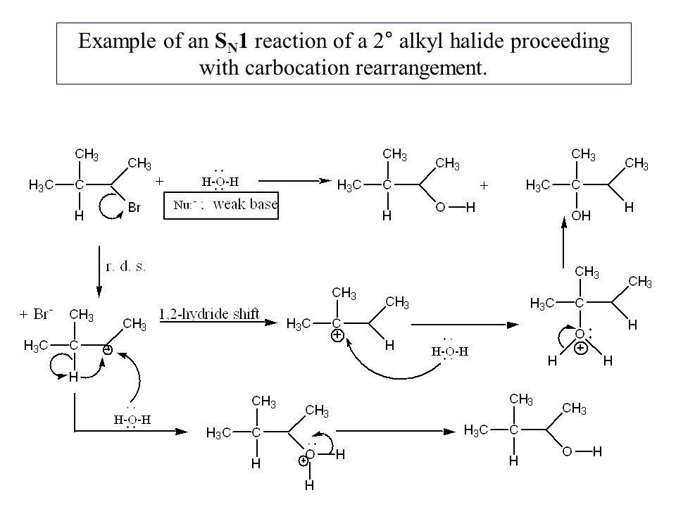 Example of an SN1 reaction of a 2° alkyl halide proceeding with carbocation rearrangement.