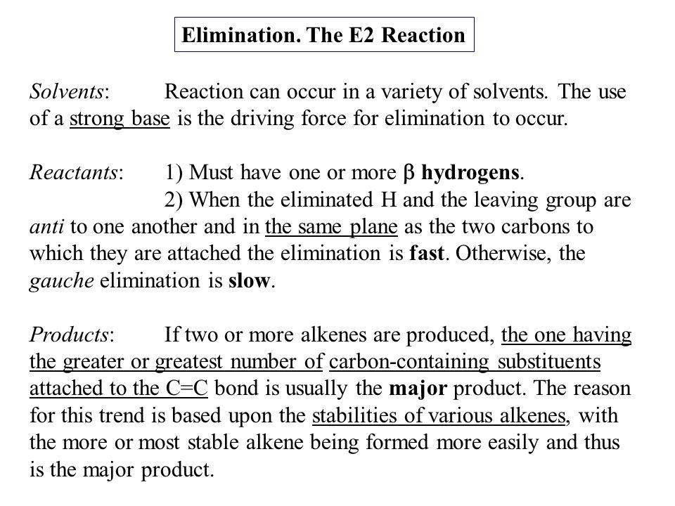 Elimination. The E2 Reaction