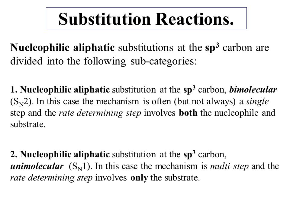 Substitution Reactions.
