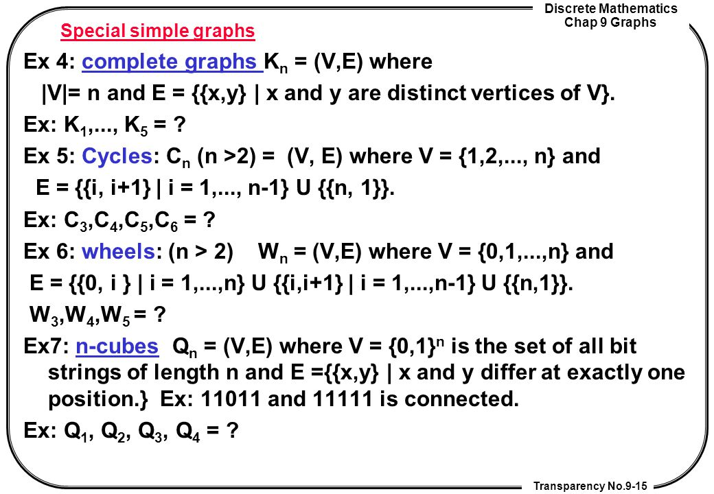 Ex 4: complete graphs Kn = (V,E) where