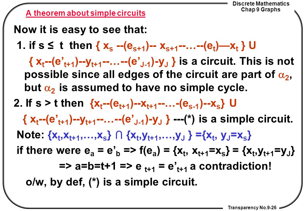 A theorem about simple circuits