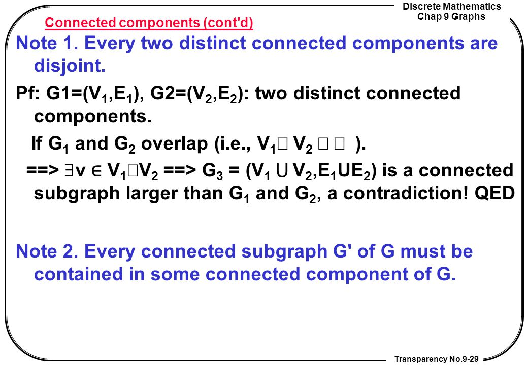 Connected components (cont d)