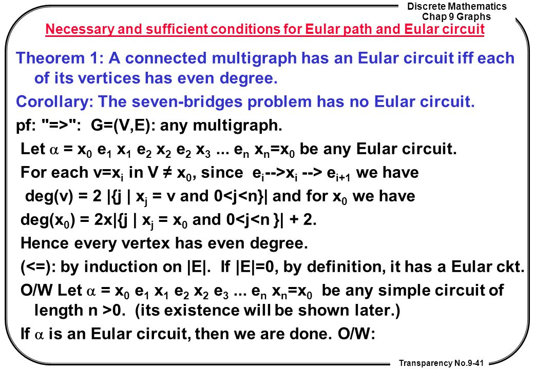 Necessary and sufficient conditions for Eular path and Eular circuit