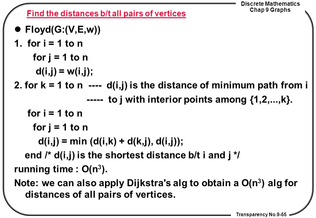 Find the distances b/t all pairs of vertices
