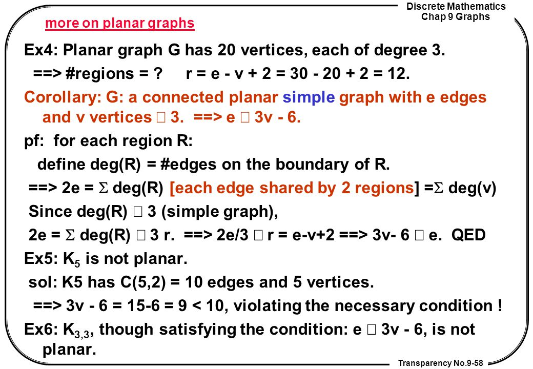 Ex4: Planar graph G has 20 vertices, each of degree 3.