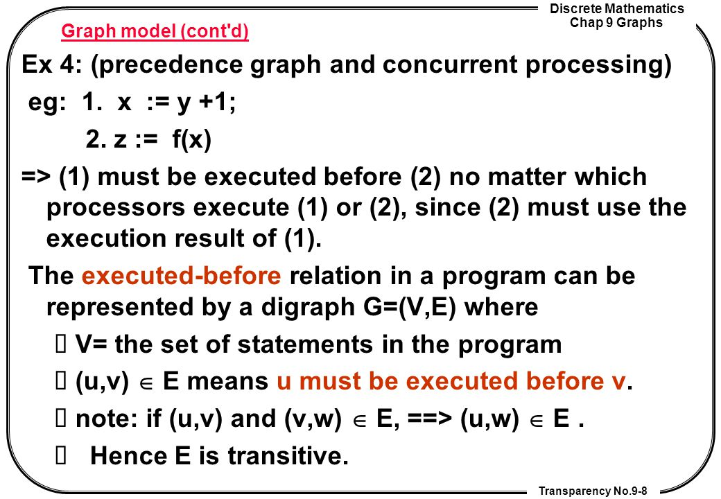 Ex 4: (precedence graph and concurrent processing) eg: 1. x := y +1;