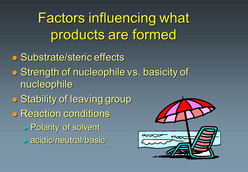 Factors influencing what products are formed