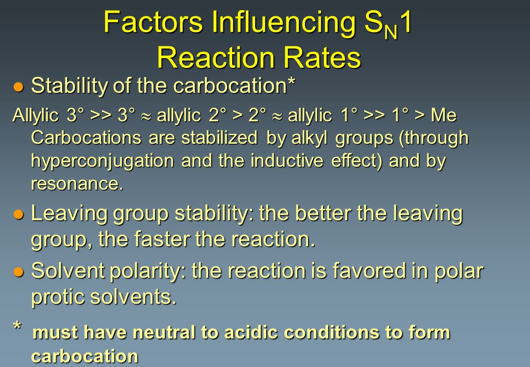 Factors Influencing SN1 Reaction Rates