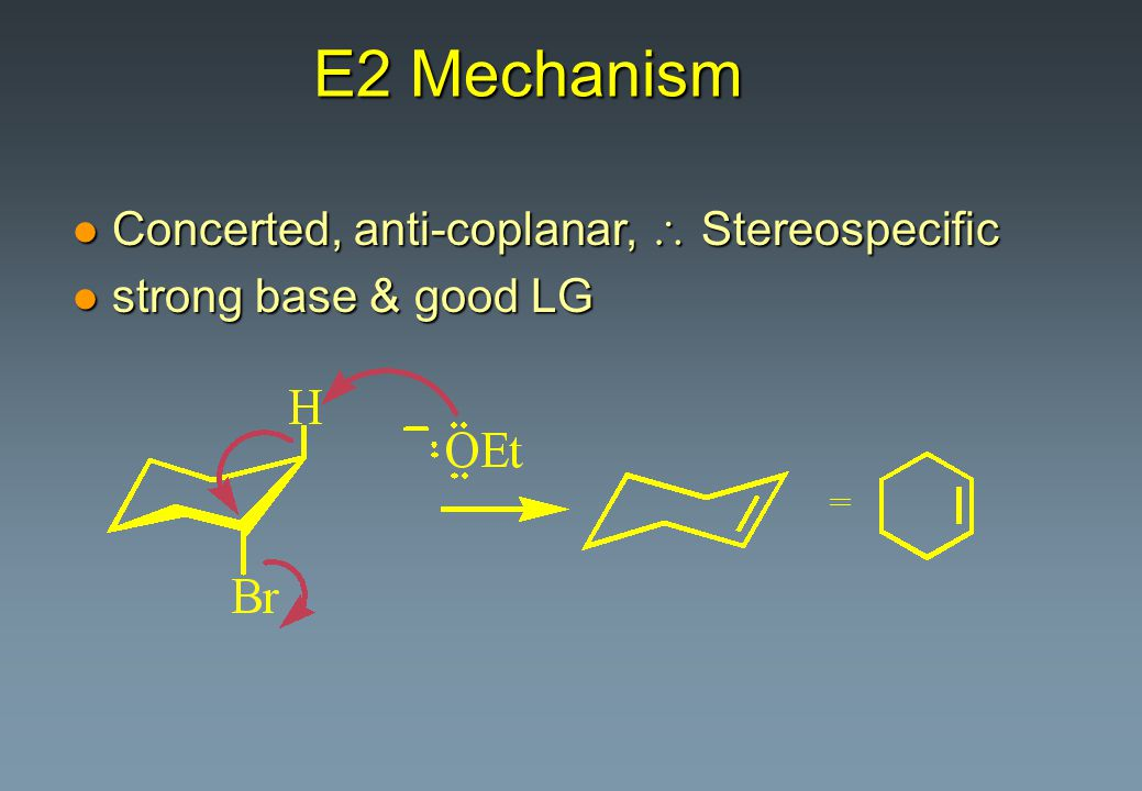 E2 Mechanism Concerted, anti-coplanar,  Stereospecific