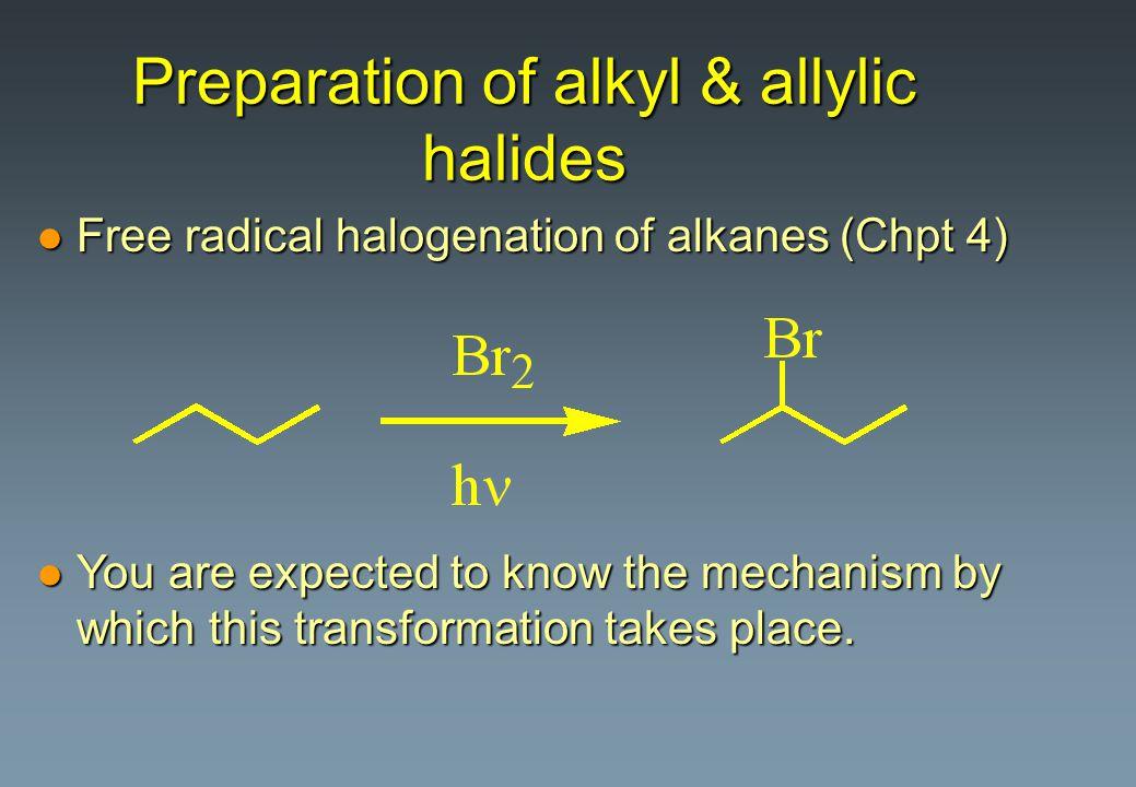 Preparation of alkyl & allylic halides