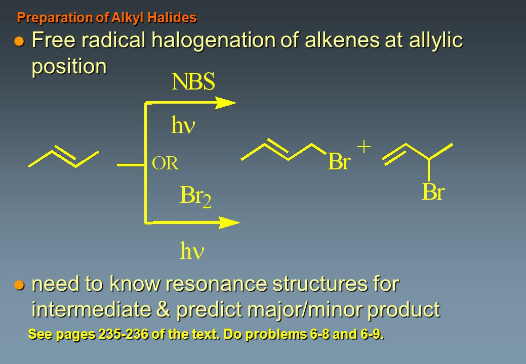Free radical halogenation of alkenes at allylic position