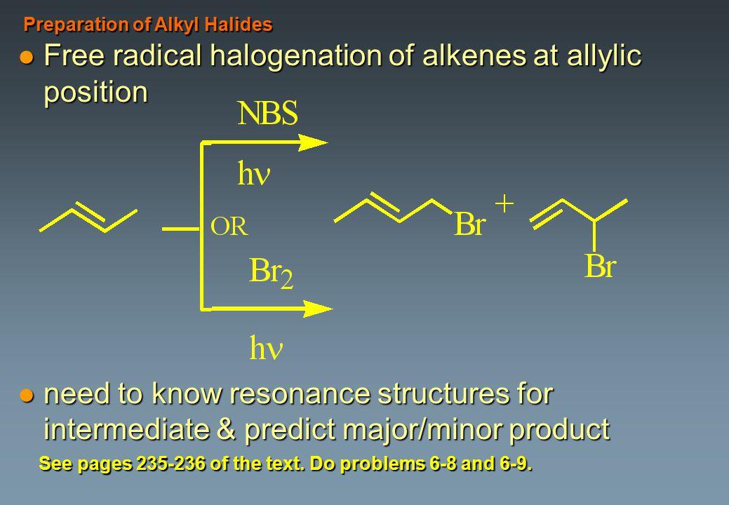 Free radical halogenation of alkenes at allylic position