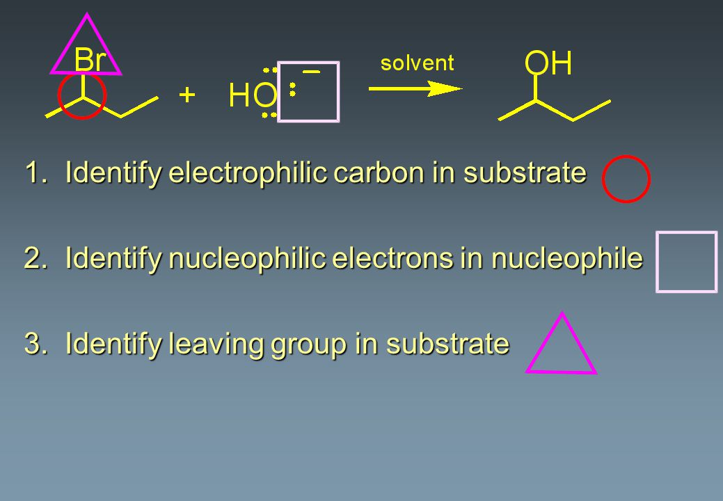 1. Identify electrophilic carbon in substrate