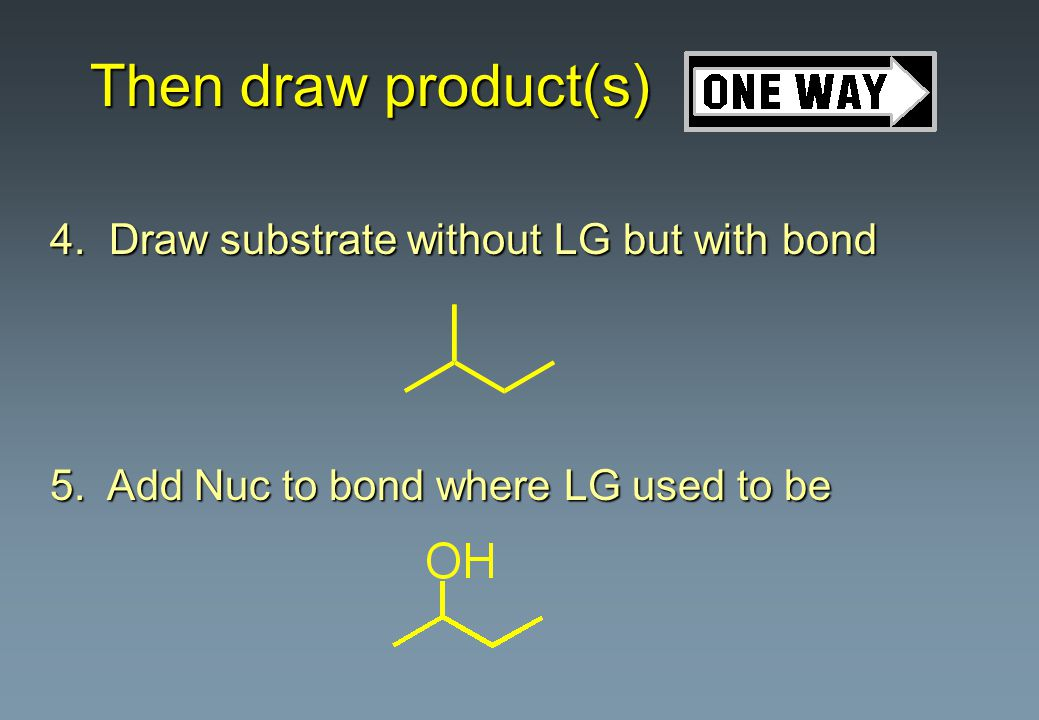 Then draw product(s) 4. Draw substrate without LG but with bond