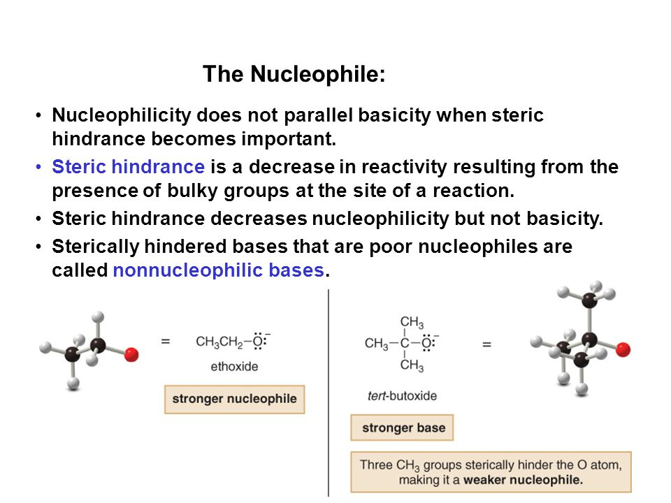 The Nucleophile: Nucleophilicity does not parallel basicity when steric hindrance becomes important.