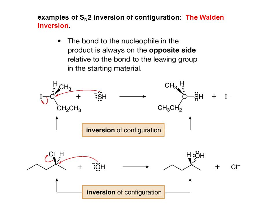 examples of SN2 inversion of configuration: The Walden Inversion.