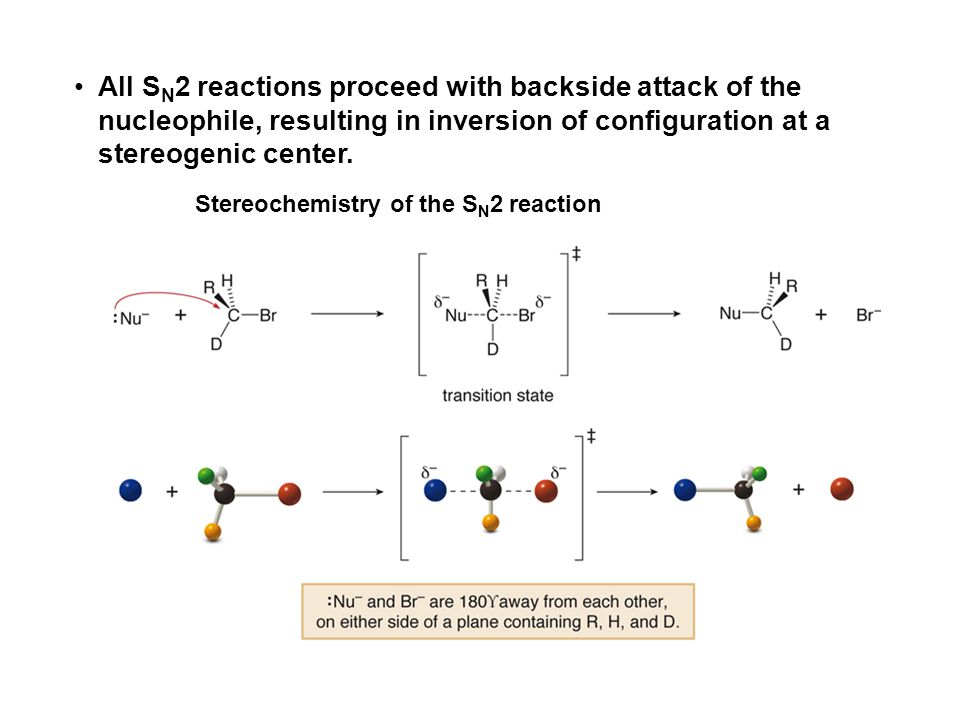 All SN2 reactions proceed with backside attack of the nucleophile, resulting in inversion of configuration at a stereogenic center.