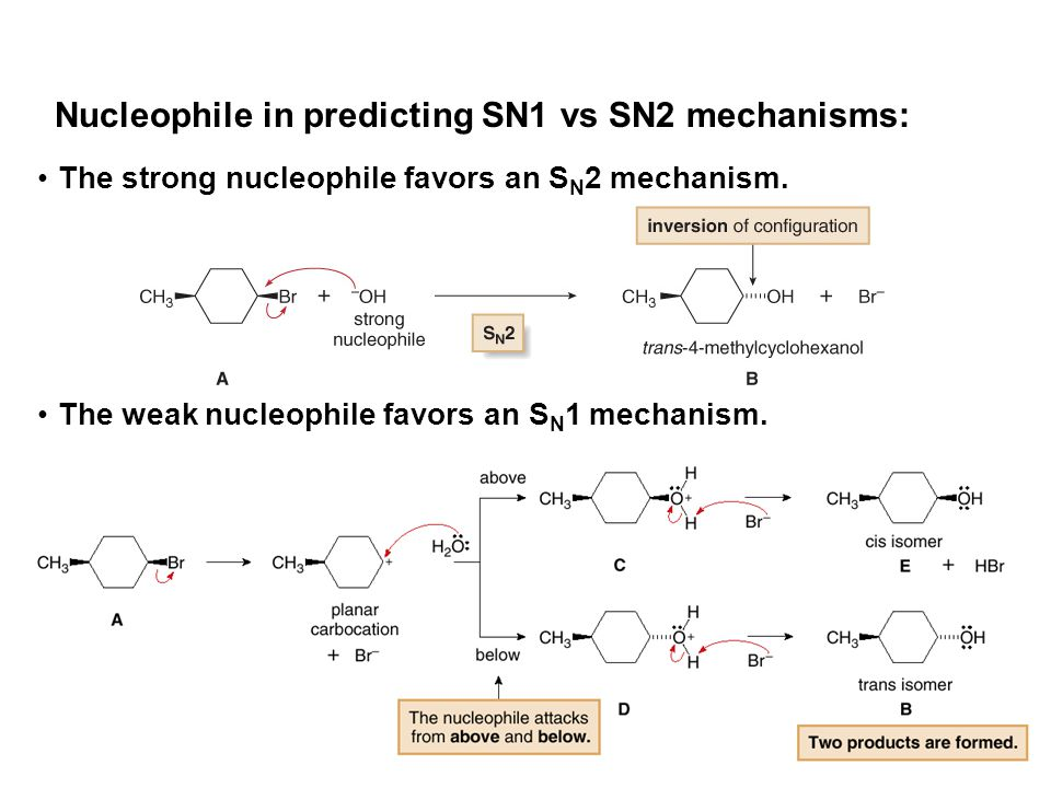 Nucleophile in predicting SN1 vs SN2 mechanisms: