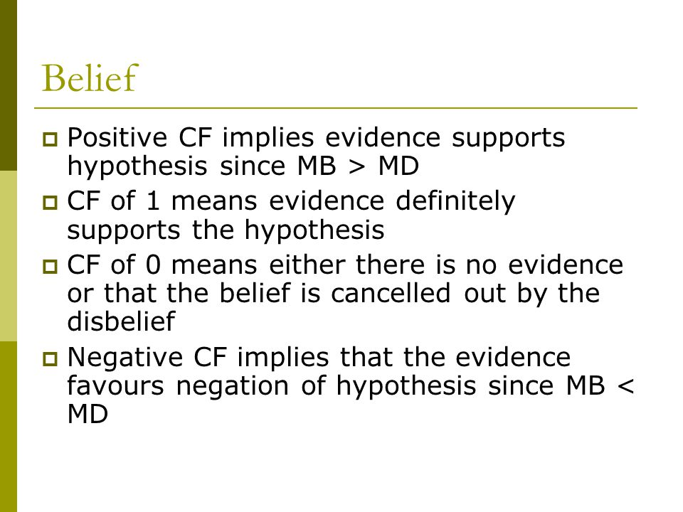 Belief Positive CF implies evidence supports hypothesis since MB > MD. CF of 1 means evidence definitely supports the hypothesis.
