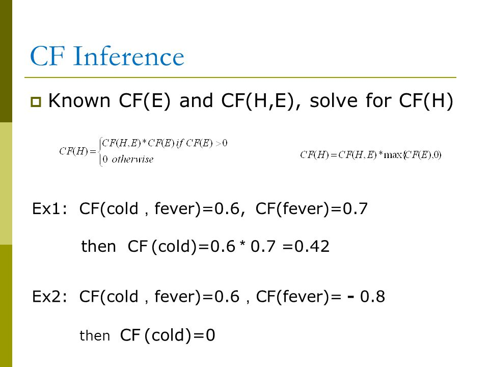 CF Inference Known CF(E) and CF(H,E), solve for CF(H)