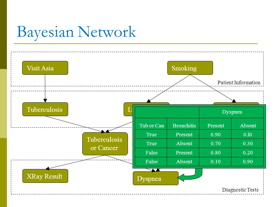 Bayesian Network Visit Asia Smoking Tuberculosis Lung Cancer
