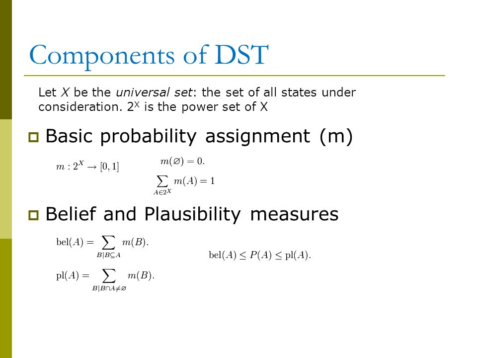 Components of DST Basic probability assignment (m)