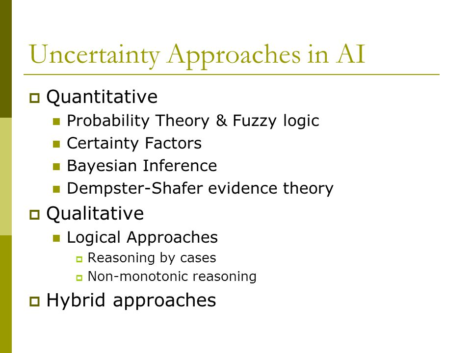 Uncertainty Approaches in AI