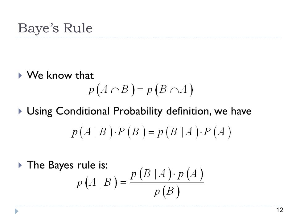 Baye's Rule We know that