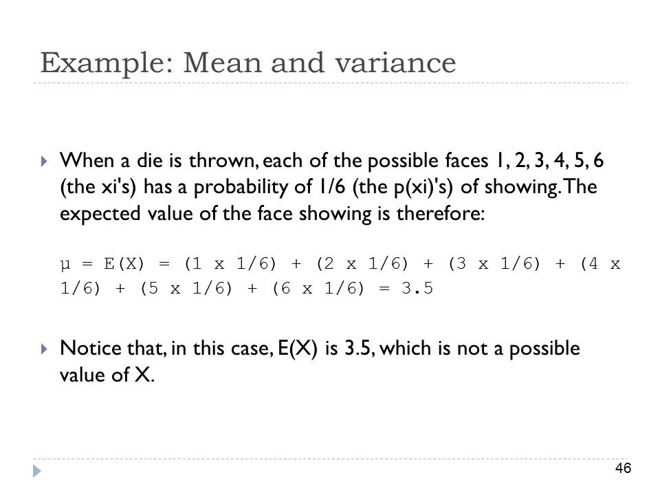 Example: Mean and variance