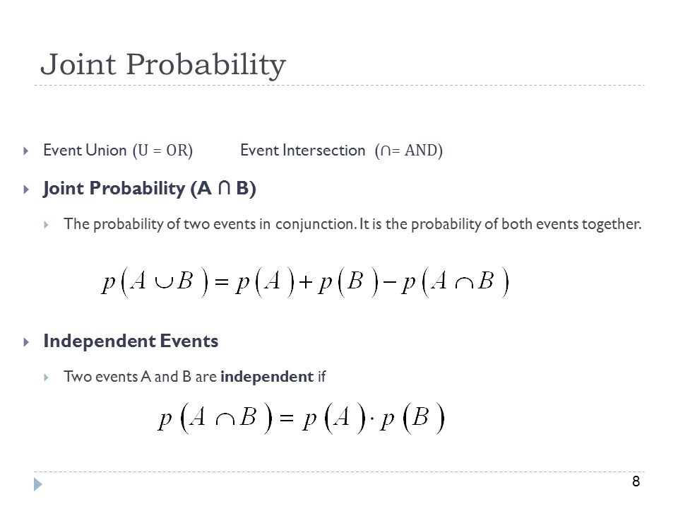 Joint Probability Joint Probability (A ∩ B) Independent Events
