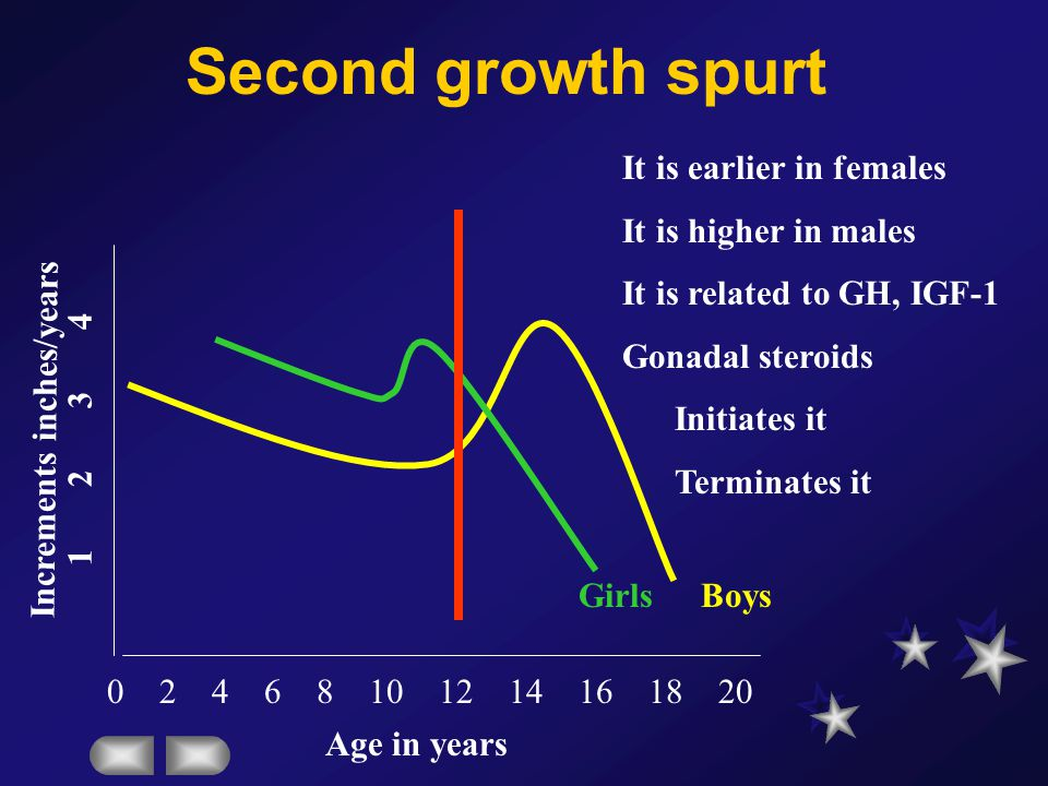 Second growth spurt It is earlier in females It is higher in males