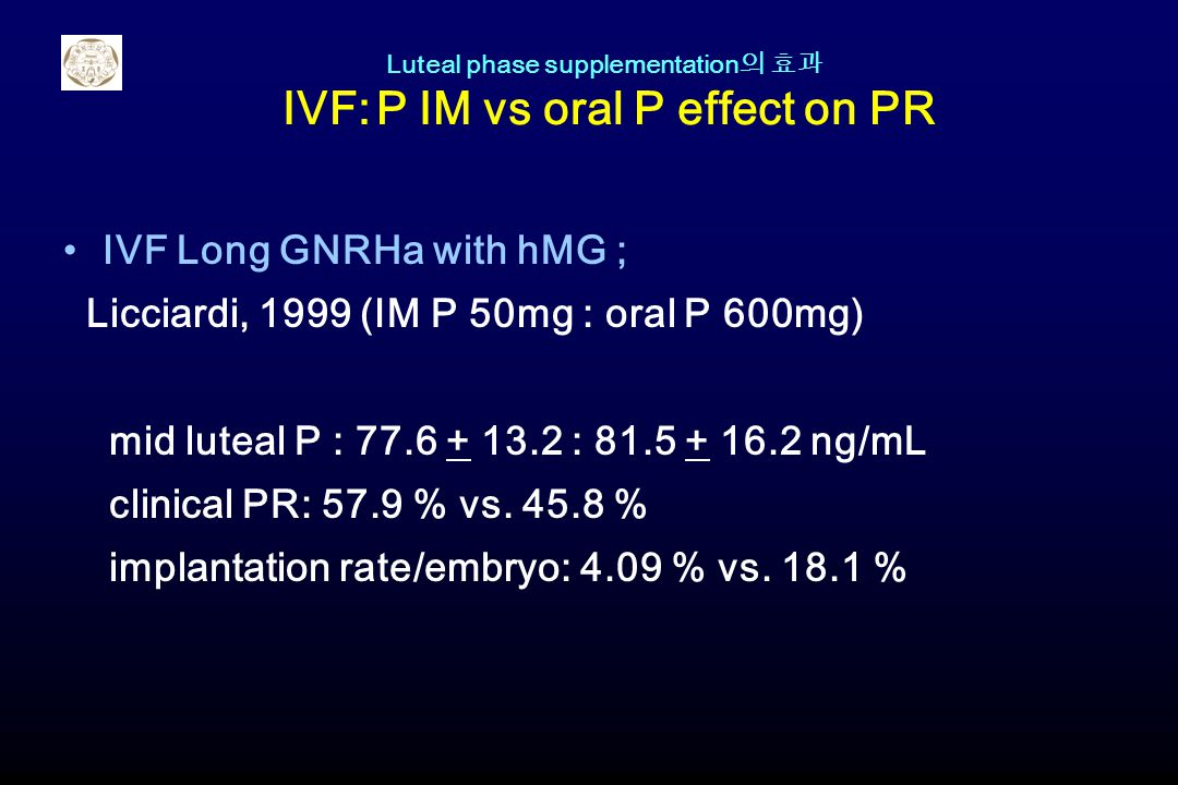 Luteal phase supplementation의 효과 IVF: P IM vs oral P effect on PR
