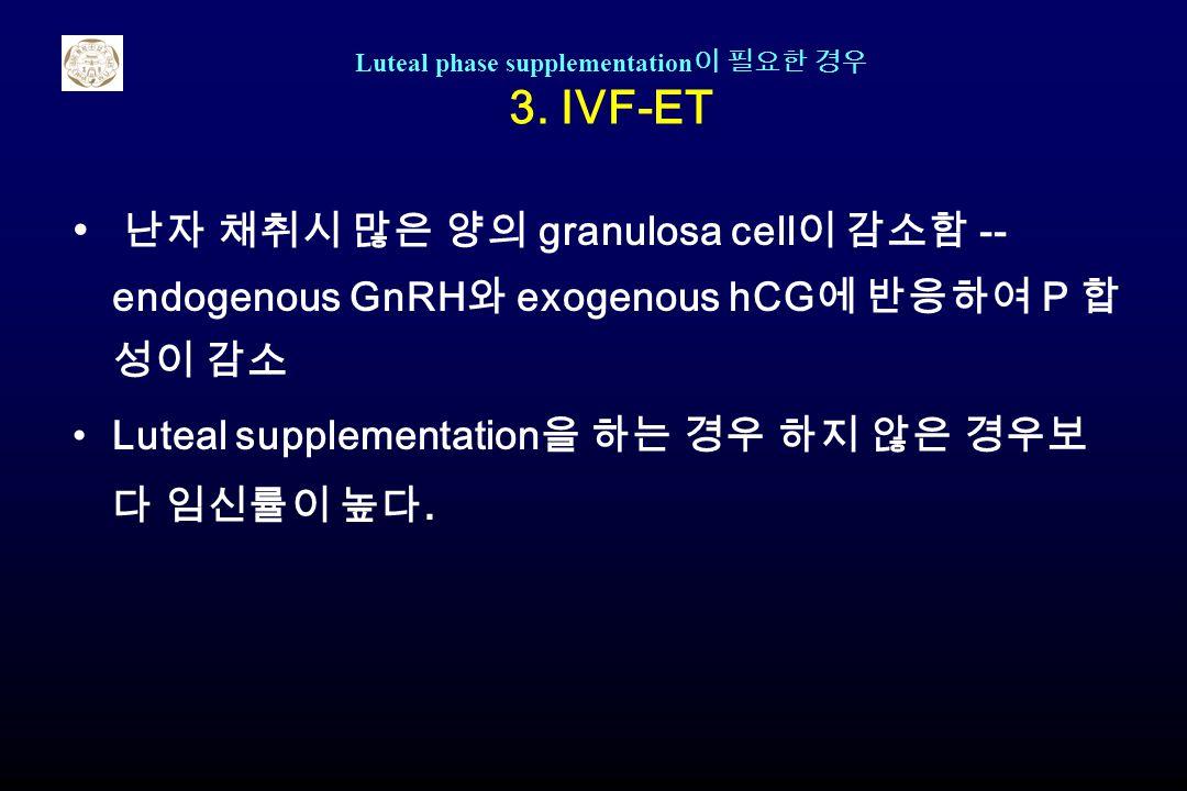 Luteal phase supplementation이 필요한 경우 3. IVF-ET
