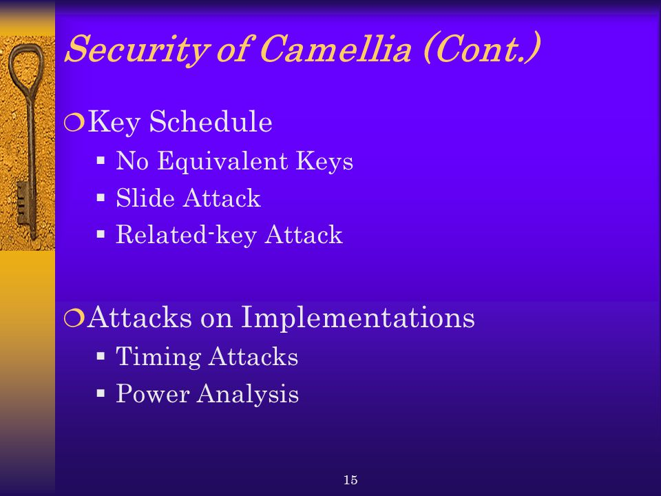 Security of Camellia (Cont.)