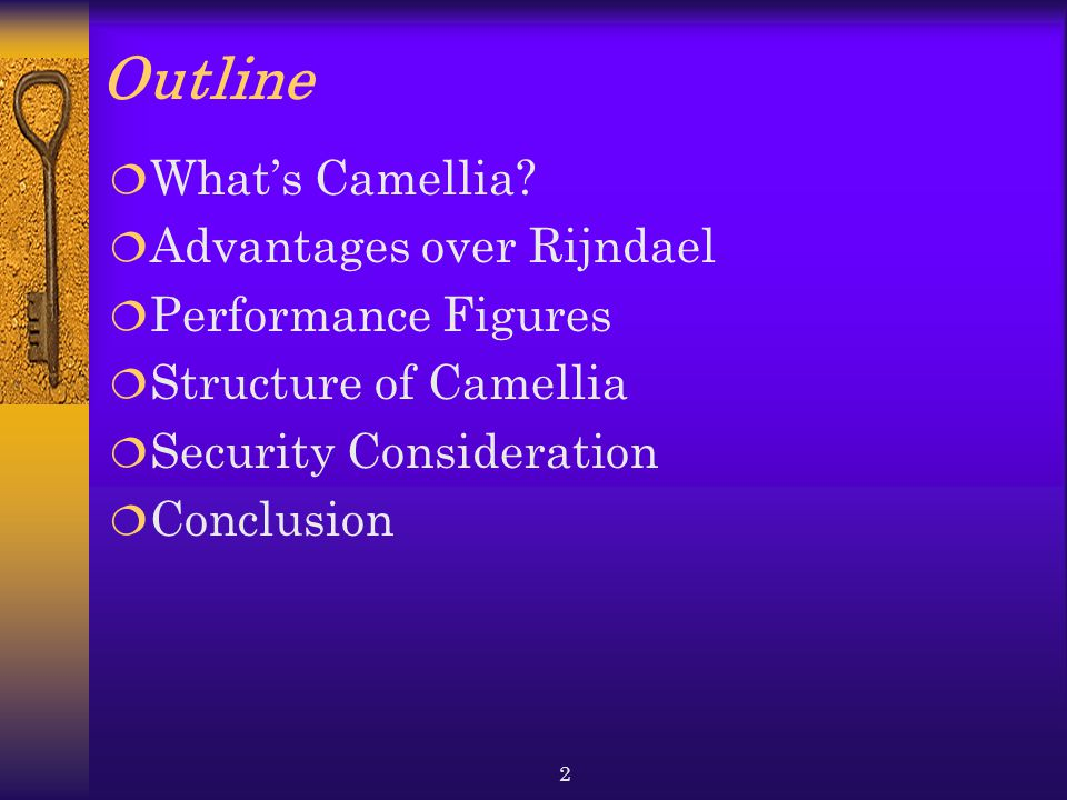 Outline What's Camellia Advantages over Rijndael Performance Figures