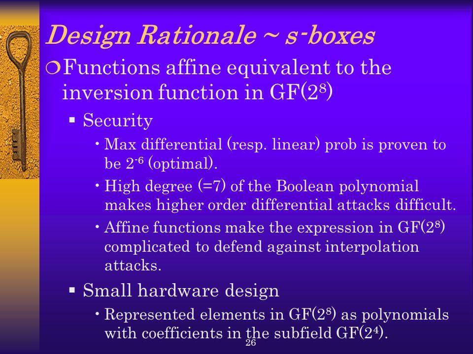 Design Rationale ~ s-boxes