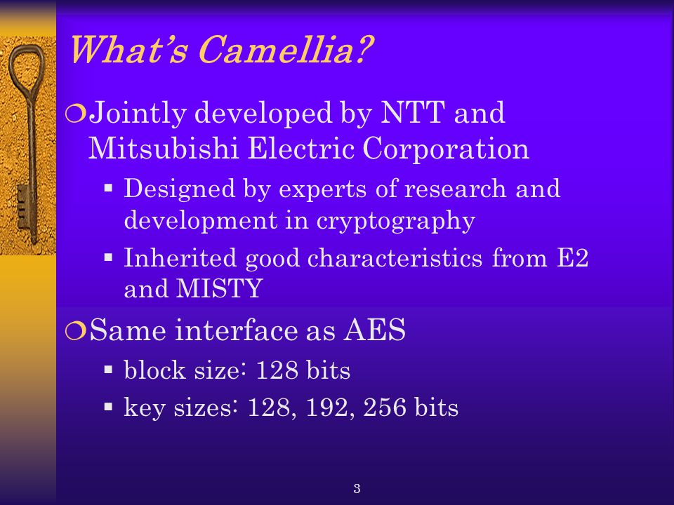 What's Camellia Jointly developed by NTT and Mitsubishi Electric Corporation. Designed by experts of research and development in cryptography.